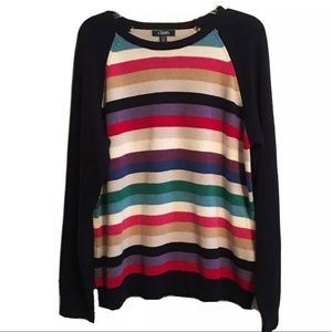 Chaps Color Block Striped LS Pullover Sweater L